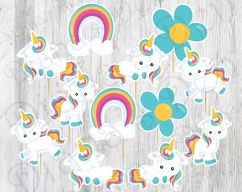 Unicorn Cupcake Toppers/Unicorn Toppers/Unicorn Party/girl Party/Boy Party
