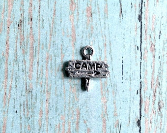 12 Tiny Camp sign charms antique silver tone - silver camp sign pendants, camping charms, summer camp charms, camp counselor jewelry, AA5
