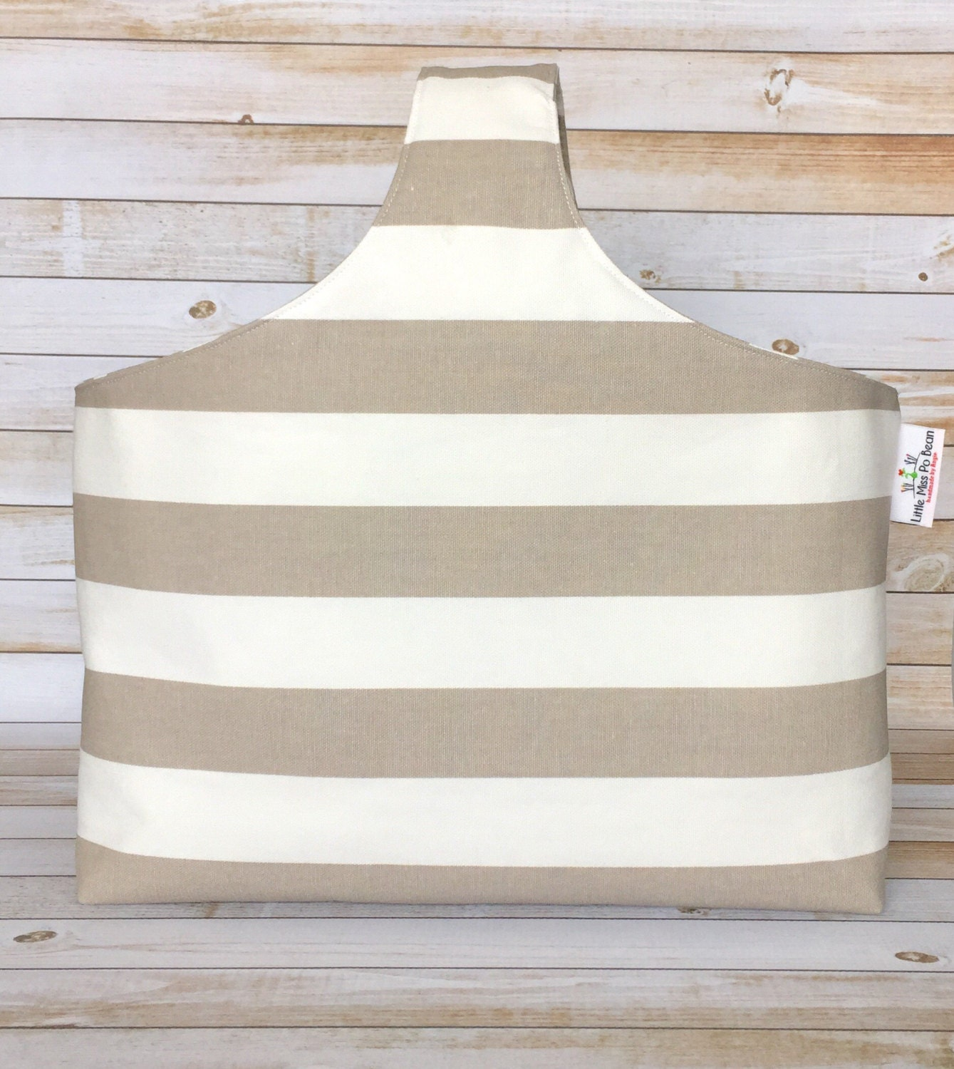 Knitting Project Bags For Sale : Sale beige stripes knitting project bag knitters tote canvas