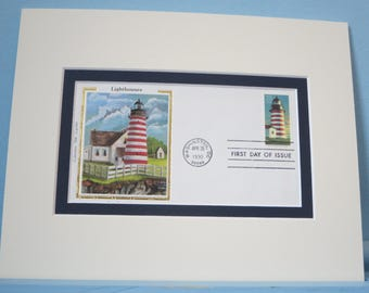 West Quoddy Head Lighthouse, Maine & First Day Cover of its own stamp