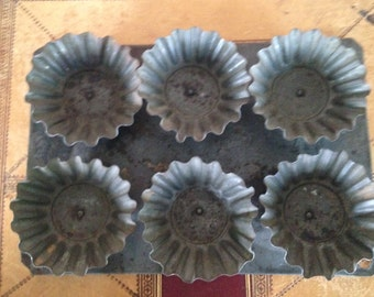 Vintage Tray of Fluted Metal Brioche Molds , Tin, Muffin Pans, Kitchen Decor