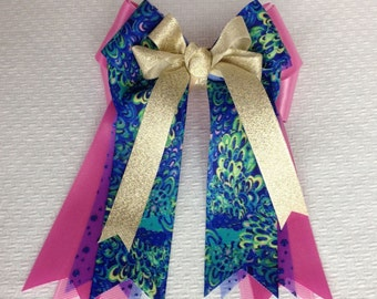 Equestrian hair bows/Lilly Inspired Equestrian clothing/Blue Green Pink Gold