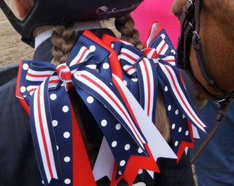 Horse Show Hair Bows/Patriotic/Red White & Blue