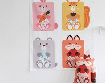 Cute Animal Digital Printing Cotton Panel Fabric - 4 Designs Package