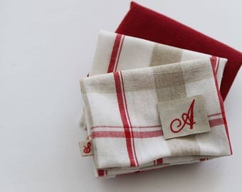 Red Check - Quarter Fabric Pack 3 Linen Fabric 1 set - Sets for 3 each 45 X 55 cm
