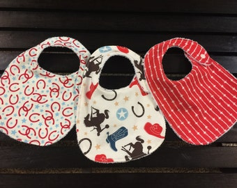 Western baby bibs set in Rodeo Rider Roundup