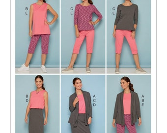 McCall's Sewing Pattern M7548 Misses'/Women's Knit Shawl Collar Jacket, Tops with Slits, and Banded Skirt and Pants