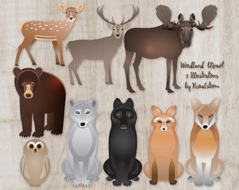 Woodland Animal Clipart Forest Animals Moose Deer Stag Bear Wolf Fox Owl Coyote Animal Scrapbooking Images Wildlife Illustrations