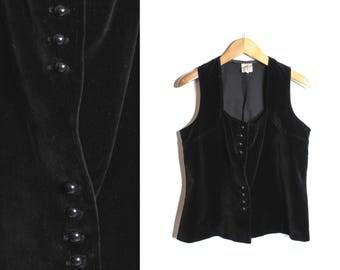 Velvet vest, Black velvet vest, Vintage velvet vest, Womens vest, Womens velvet vest, Velvet waistcoat, Romantic vest, Black vest / XL Large