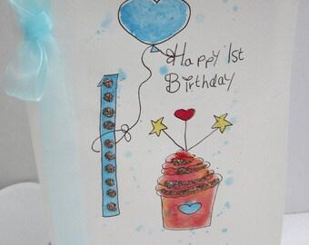 1st birthday, watercolour card, first birthday card, first birthday boy, son 1st birthday, nephew 1st birthday, personalise, handmade card