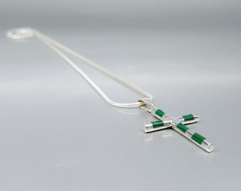 Men's cross pendant with Malachite and Sterling silver - modern divine gemstone jewelry - gift idea