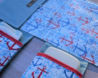 Nautical Diaper Change Mat, Fold and Go Clutch, Anchor Baby Change Mat, Sailor, Changing Pad, Red White and Blue
