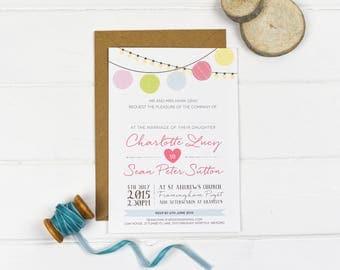 Wedding Invitation - Paper Lantern - Wedding Stationery - Printed or DIY Printable Download - Personalised - Pastel Wedding - Summer Wedding