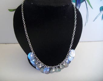 Pearly grey sequin collar