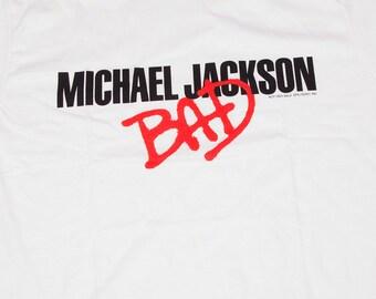 Vintage Michael Jackson 1980s Bad Album Tshirt