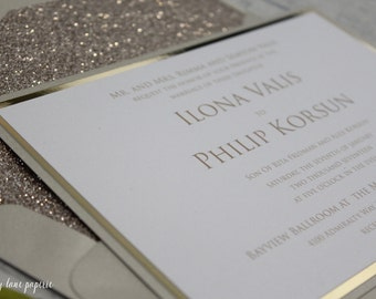 Glitter Gold Wedding Invitation, Elegant Wedding invitation, Champagne Wedding Invitation, Champagne Gold, Sample