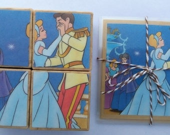 Wooden Puzzle Storyblocks - Handmade from repurposed 'Cinderella' Little Golden Books