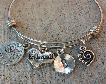 Bridesmaid Adjustable Bracelet, Gift for Bridesmaid Silver Bangle, Expandable Bangle,Expandable Bracelet, Adjustable Bangle,Wedding Bracelet