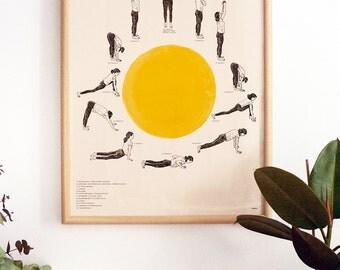 Sun Salutation Yoga Poster. Hatha Yoga posture sequences Print.