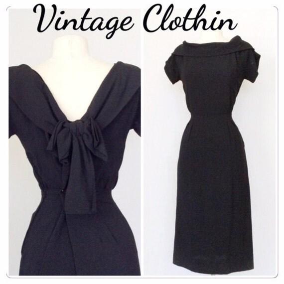 1950s Black Pinup Wiggle Dress, LBD, 1950s LBD, Wiggle Dress, Vintage Dress, Pinup Dress, 1950s Pinup Dress, Dress, 50s Dress, 1950s, 1950