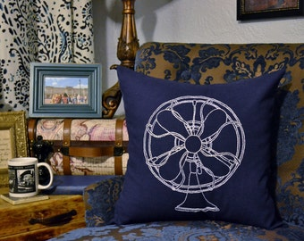 Vintage Electric Fan Pillow Cover Hand Embroidery Accent Pillow Sham Industrial Decor Retro Fan Hipster Bedding Stitched Pillow Antique Fan
