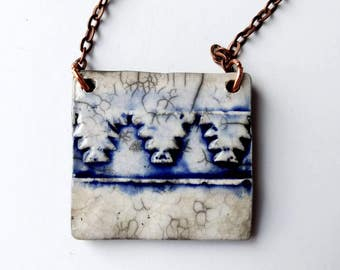 Moroccan tile necklace/ Raku clay pendant on 24 inch chain/ ceramic pottery jewelry, zellige zelij Moroccan pattern, Cobalt blue and white