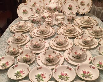 Royal Chelsea Moss Rose tea set for 12. 76 pieces. Free shipping!