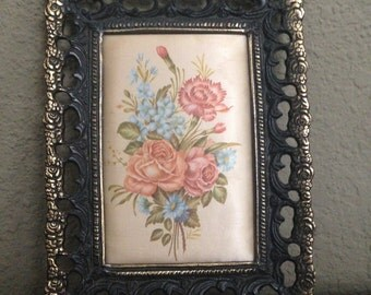 Framed Flower Print on Silk