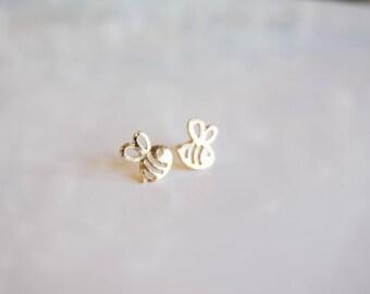 Silver & Gold Bee Earrings