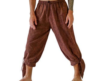 BUCCANEER PANTS Stonewashed BROWN - Steampunk, Pirate Pants, Harem Pants, Medieval Clothing, Renaissance Festival, Burning Man, Larp Costume