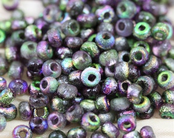 6/0 Etched Magic Orchid Czech Seed Beads - 30grams - spectacular vintage metallic colors...