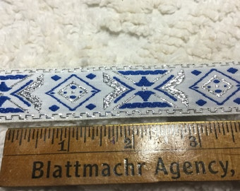 Brocade Trim - Blue and Silver on White