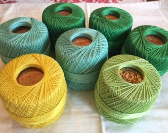 Vintage Cotton Clarks Multiple Colors Crochet Thread; 7 Balls;  30 weight