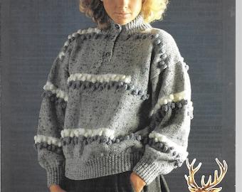 UK - Original knitting pattern for ladies jumper / sweater.  Aran.  Size 28 - 40 ins.