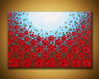 Large red poppy painting 24x36 Contemporary art Textured flowers wall art Red abstract floral landscape fine art Large Red Wall Art Office