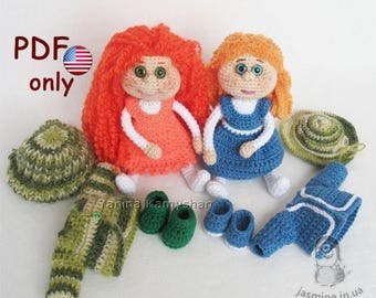 Two toys - Best friends amigurumi doll with clothes crochet and knitting pattern