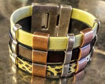 SALE Leather Cuff Bracelet Lime Green.. Animal Print..