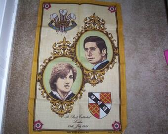Royal Tea towel. Charles and Diana Royal Wedding Tea towel. Irish Linen Tea Towel.
