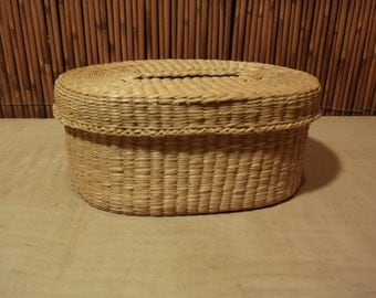 Vintage Chinese Straw Oval Basket with Lid Cover A