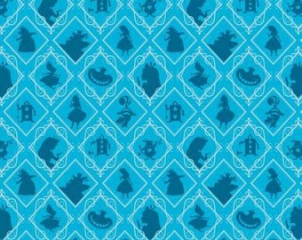 Alice in Wonderland character frames on blue Topaz cotton fabric by Camelot Fabrics