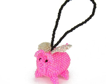 Beaded Flying Pig Ornament