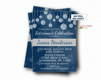 Printed or Printable Retirement Party Invitations. Retirement Invite.  Blue, Gray & White Retirement Celebration Invitation.