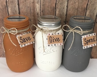 Set of 3 Give Save Spend Banks, QT or PT Jars, Tithings Jar, Give Donate Spend, Choose from 16 Colors, Featured in Granite Vanilla Orange