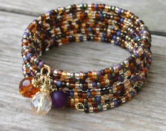 Gold and Purple Glass Memory Wire Bracelet, Seed Bead Multi-Coil Memory Wire Bracelet