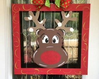 Reindeer door hanger, christmas door hanger, christmas door decor, reindeer