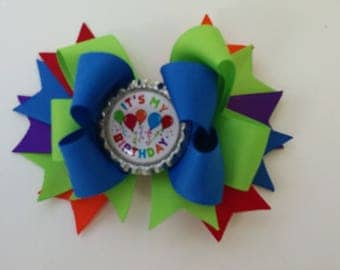 Birthday Hair Bow It's My Birthday Bow Primary Colors Birthday Bow Bottle Cap Bow