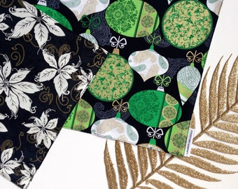 Reversible Black, Emerald Green, White and Metallic Gold Baubles with White and Gold Poinsettia Christmas Table Runner