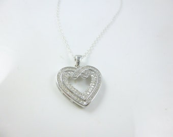 Heart Necklace, Open Heart Necklace, Sterling Silver Heart Necklace, Cubic Zirconia Necklace, Heart Pendant