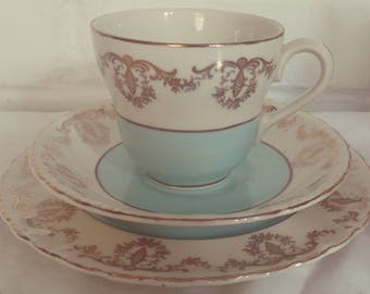 Stunning Vintage Light Blue and Gold Tea Set Trio for One, English Bone China, Perfect for a Tea Party, afternoon tea