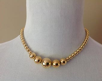 Napier Short Gold Bead Beaded Necklace / Signed Vintage Costume Jewelry